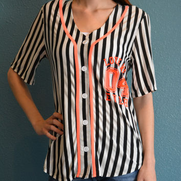 JC Fits Inc Womens Striped Baseball Tee Young Adults