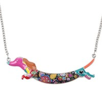 Women's Colorful Pink Blue Paisley Print Metal Enamel Dachshund Weiner Dog Necklace Silver Tone Chain