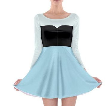 Adult Ariel Little Mermaid Inspired Long Sleeve Skater Dress