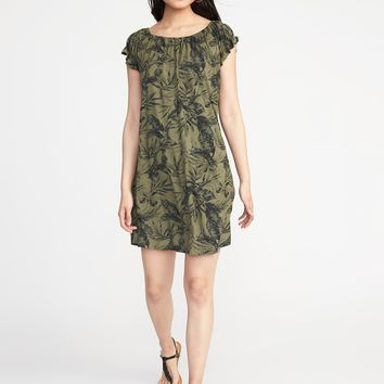 Jersey Flutter-Sleeve Swing Dress for Women |old-navy