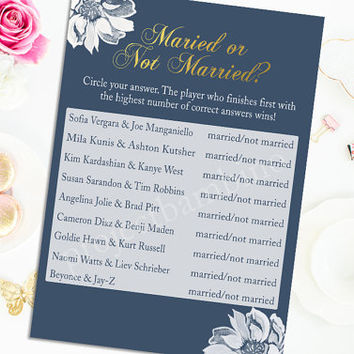 Married or Not Married Bridal Shower Game Gold White Flower Printable Bridal Shower Game Digital Instant Download