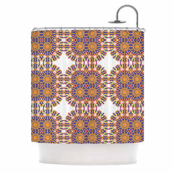 "Miranda Mol ""Ornamental Tiles"" Orange Blue Shower Curtain"