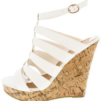 VIOLET2 WHITE CAGED CORK PLATFORM WEDGE