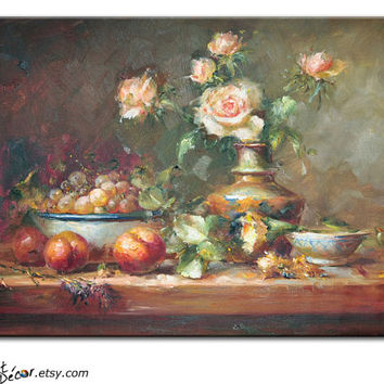 "Original Art Still Life Oil Painting, Large Canvas Painting, Fruit and Flowers Art, 36"" Horizontal Art For Living Room Wall Decor"