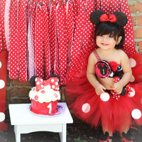 Gorgeous Minnie Mouse Cake Smash Birthday Outfit Tutu Set 3 Piece for Baby Girl 6-18 Months First Birthday Pageant Dress