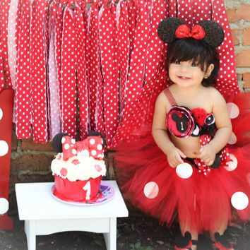 Gorgeous Minnie Mouse Cake Smash Birthday Outfit Tutu Set 3 Piece For Baby Girl 6