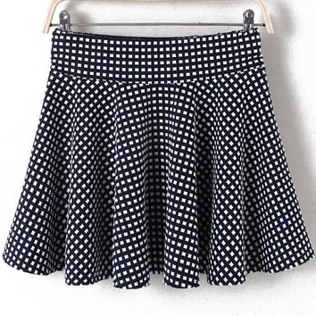 Navy Plaid Pleated A-Line Mini Skirt