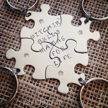 Hand stamped friendship keychains, stamped puzzle pieces, friend keyrings, matching puzzle pieces, personalized- BFF, best friends