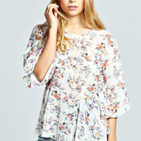 Amy Floral Bell Sleeve Peplum Top