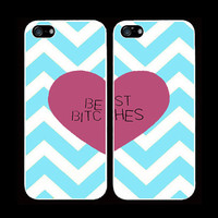 TIFFANY blue CHEVRON best bitches cases one for you one for your best friend/bitch iPhone 4 iPhone 4s iPhone 5  pink heart trendy