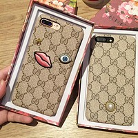 Gucci Fashion Embroider silica gel phone case iPhone 6 s mobile phone shell iPhone 7 plus shell F