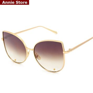 Peekaboo Sexy new cat eye sunglasses 2017 woman 7 color metal oversized eye cat sunglasses women brand uv400 mirror lentes