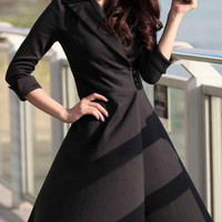 Black Lapel Neck 3/4 Sleeve Skater Dress