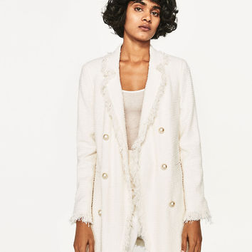 FRAYED JACKET WITH PEARL BUTTONS