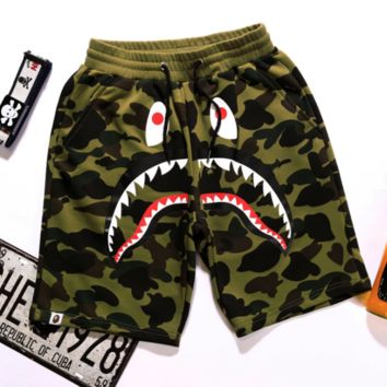 7e10db753e16 BAPE SHARK Fashion Shark mouth print Camouflage green blue purpl