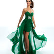 Strapless Emerald Chiffon High-Low Dress