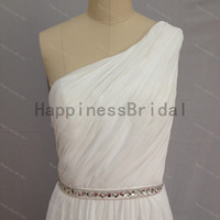 White one-shoulder floor-length chiffon prom dress with sash,long prom dresses,bridesmaid dress,chiffon prom dress,formal evening dress 2014