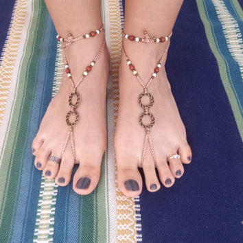 Barefoot Sandals crochet brown gold
