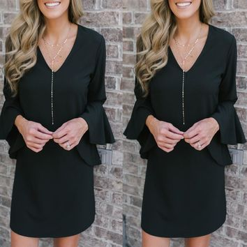 Temperament Deep V Solid Color Flare Sleeve Dress