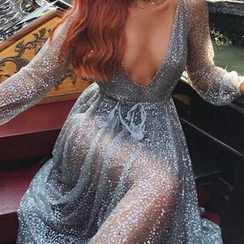 Sliver V Plunge Sparkle Sequin Embellished Mesh Maxi Dress