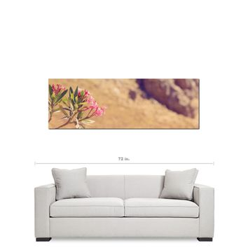 Greek Landscape - Pink Flower Art - Green and Brown - Feminine Decor - Floral Art - Panoramic Canvas - Large Canvas - 20 x 60 Canvas