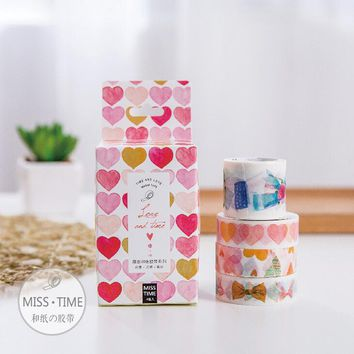 JC108  4 pcs/set Love And Time Decorative Washi Tape DIY Scrapbooking Masking Tape School Office Supply