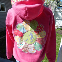 Grateful Dead Dancing Skeleton Upcycled Pink Hoodie with paisley Trim Upcycled Zip Up Hoodie OOAK Size M Patchwork  Hippie clothes