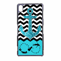Peter Pan Mint Glitter Anchor Black Chevron Sony Xperia Z3 Case