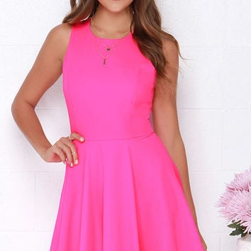 Dee Elle At Ease Hot Pink Skater Dress