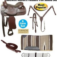 """Tahoe Barbed Wire Tooled Leather Trail Saddle, Mohogany, 15"""""""