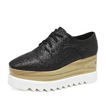 Black Sparkle Flatform Lace Up Shoes