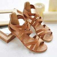 Flat Ankle-Wrap Sandals