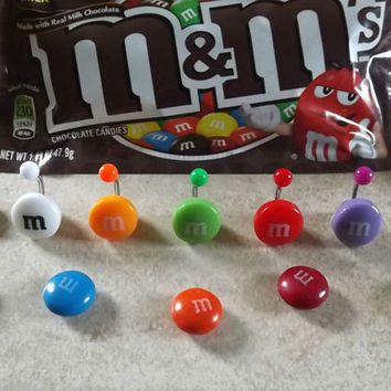 M & M Belly Button Ring Body Jewelry Body Piercing by BodyDazzles