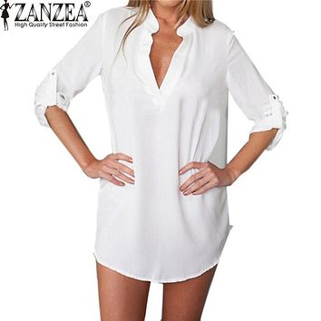 ZANZEA Oversized Women Summer Sexy Chiffon Shirt Dress Ladies V-neck Long Sleeve Casual Loose Mini Short Beach Dresses Vestidos