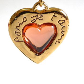 Authentic vintage Yves Saint Laurent charm. Necklace heart. Paris je t'aime.Valentine's day.