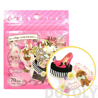 Fashion Themed Shoes Heels and Accessories Shaped Sticker Flake Seal Pack From Japan | 70 Pieces | Cute Scrapbook Supplies