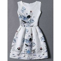 Floral Jacquard Mini Fit and Flare Dress
