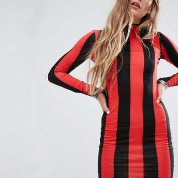 Motel Bodycon Dress With Long Sleeve In Stripe at asos.com