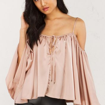Flared Sleeve Off Shoulder Top in Blue and Pink