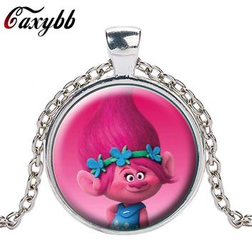 Caxybb brand New Style of Fairy Fancy Cute Silver Trolls Crystal Necklace Jewelry Body Long Chain Jewelry Cartoon For Child gift