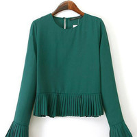 Fall Slim Fashion Long-Sleeved Round Neck Pleated Decoration Flounced Hedging Dark Green T-Shirt