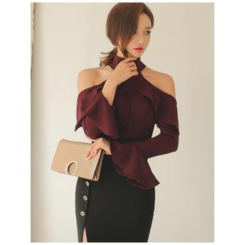 Women Petal Sleeve Tops