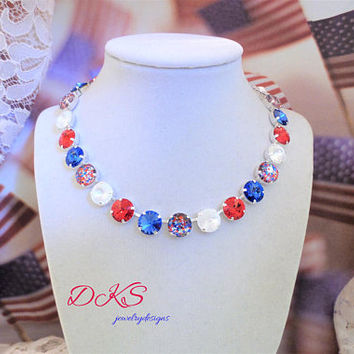 Independence Day, Swarovski 12MM Necklace, Patriotic, Military Wedding, Hand Painted, July 4TH, DKSJewelrydesigns,FREE SHIPPING