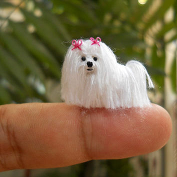 Maltese - Tiny Crochet Miniature Dog Stuffed Animals - Made To Order
