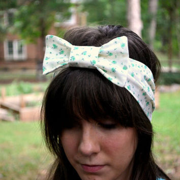 Turquoise and White Floral Bow Headband