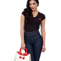 Black & Red Cap Sleeve All Over Cherries V-Neck Tee