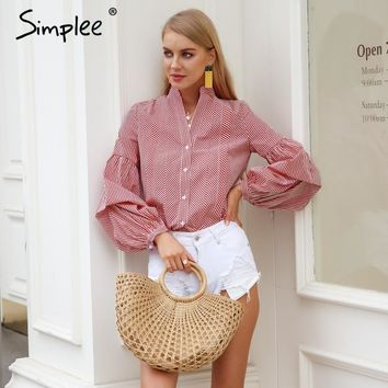 Simplee Vintage v-neck plaid blouse women Long puff sleeve summer blouse shirt Streetwear casual stripe black blusas tops