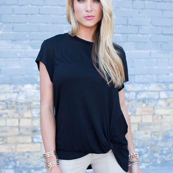 Twist and Shout Knot Top Black
