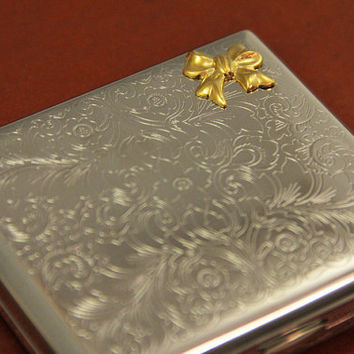 Bow Cigarette Case Metal Wallet Victorian Bow Ribbon Metal Silver Steampunk Case Victorian Style Gift Ideas Antique Gold Gothic Boxes Card