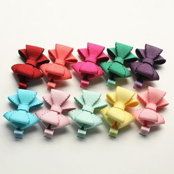 New Novelty Good Quality Hairpin Chamois Leather Bow Hair Clip for Girls Children' Bowknot Hair Accessory Kids Jewelry 20pcs/lot